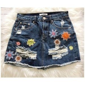 Glamours distressed denim skirt floral embroidery